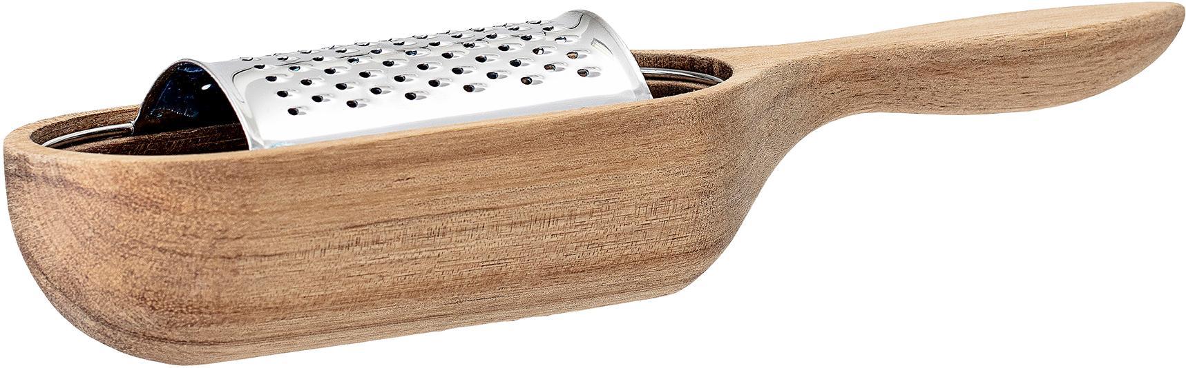 Set de rallador Acci, 2pzas., Rallador: acero inoxidable, Contenedor: madera de acacia, Madera de acacia, acero inoxidable, An 25 x F 7 cm