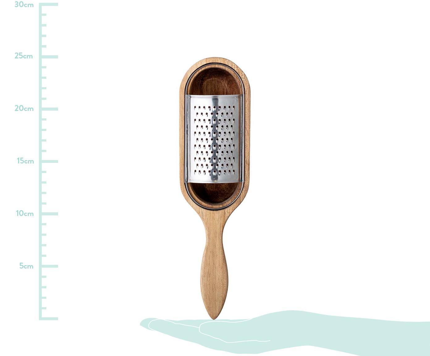 Komplet z tarką kuchenną Acci, 2 elem., Drewno akacjowe, stal szlachetna, S 25 x T 7 cm