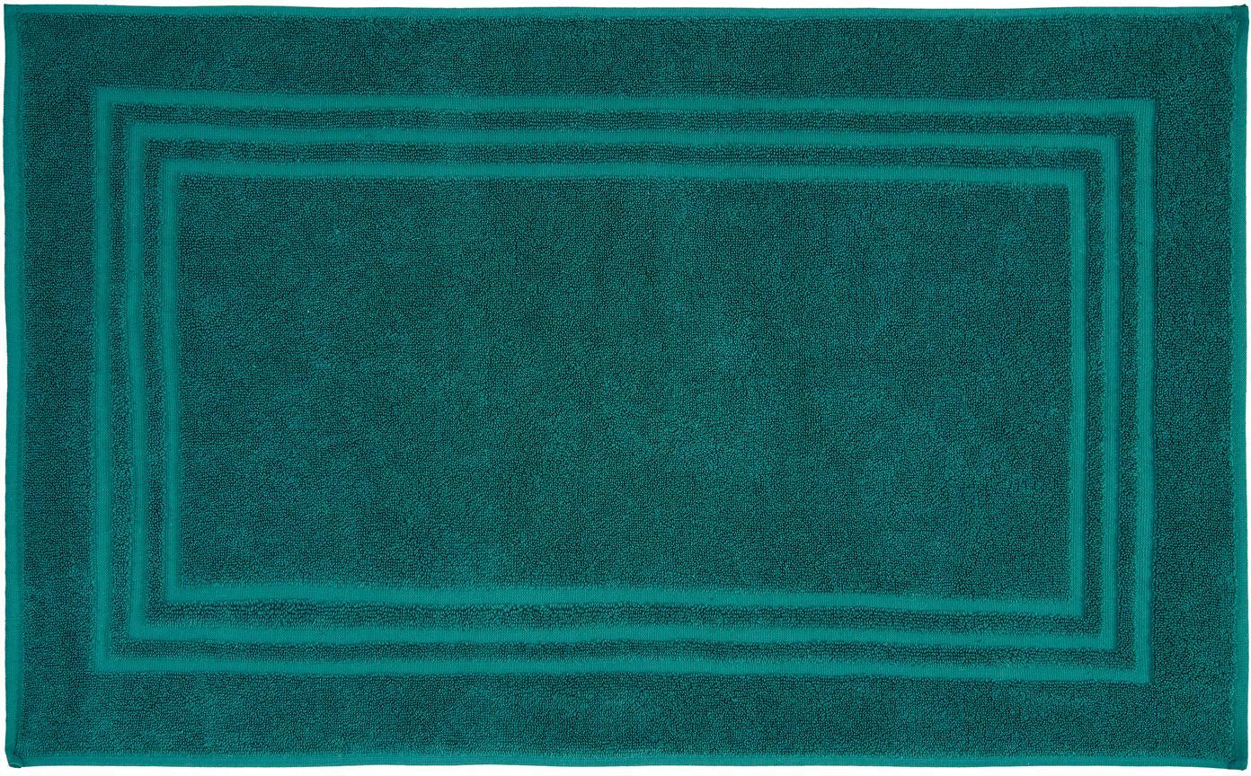 Tappeto bagno in tinta unita Gentle, Cotone, Verde smeraldo, Larg. 50 x Lung. 80 cm