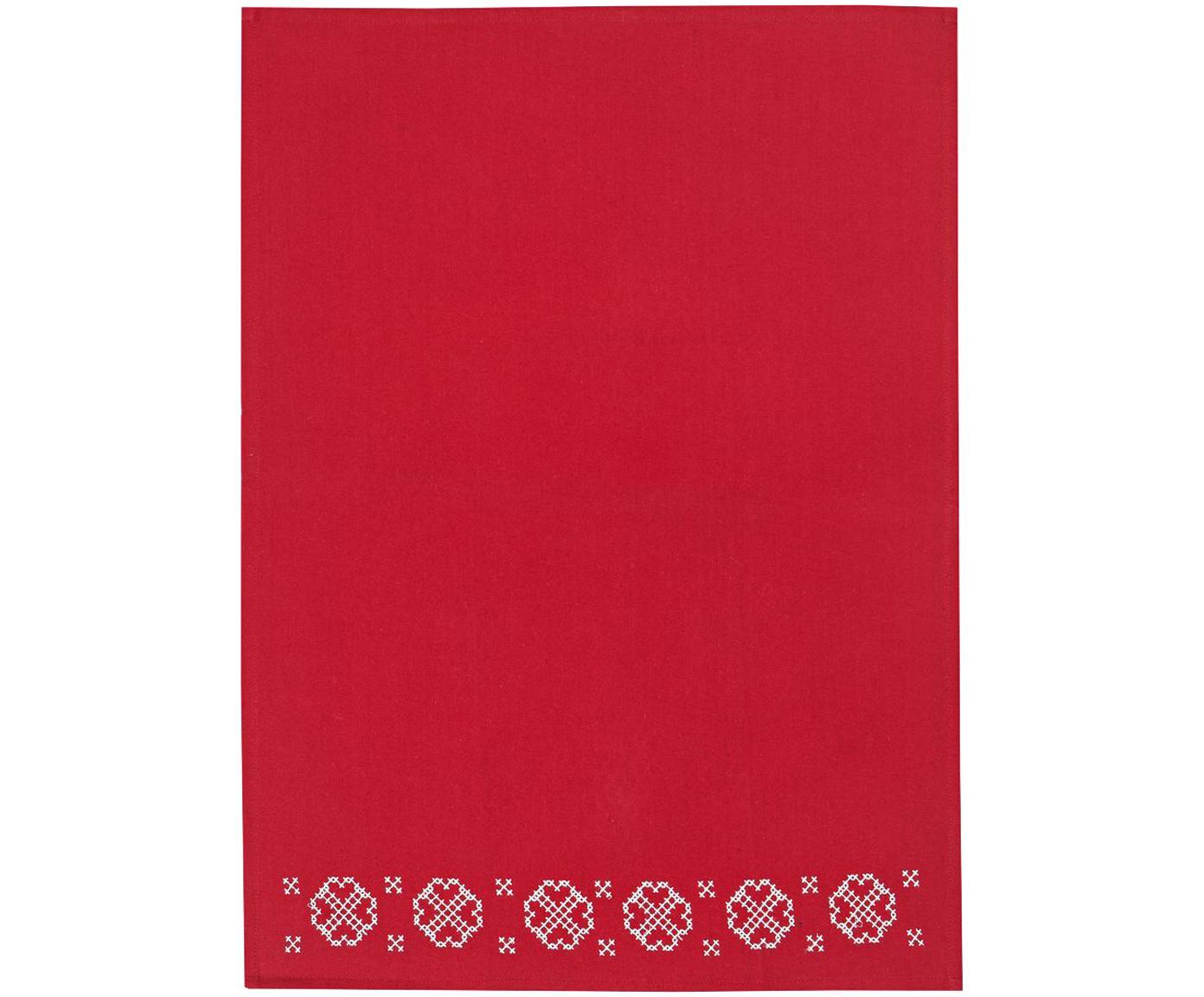 Geschirrtuch Embroidery mit winterlichem Motiv, Baumwolle, Rot, Weiss, 50 x 70 cm