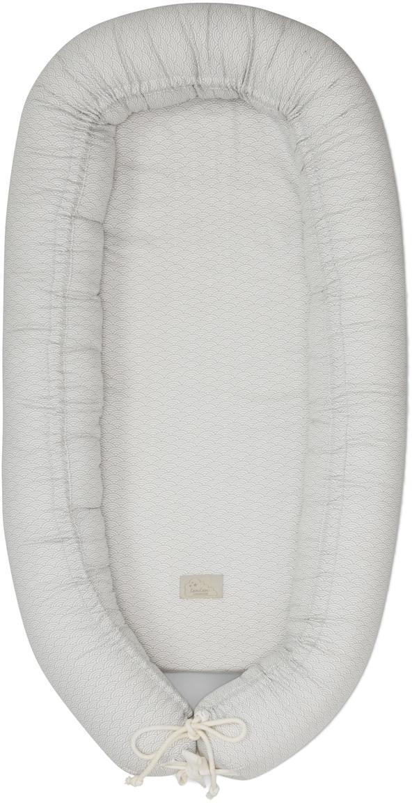 Babynest Wave aus Bio-Baumwolle, Bezug: Bio-Baumwolle, Grau, Weiß, 47 x 88 cm