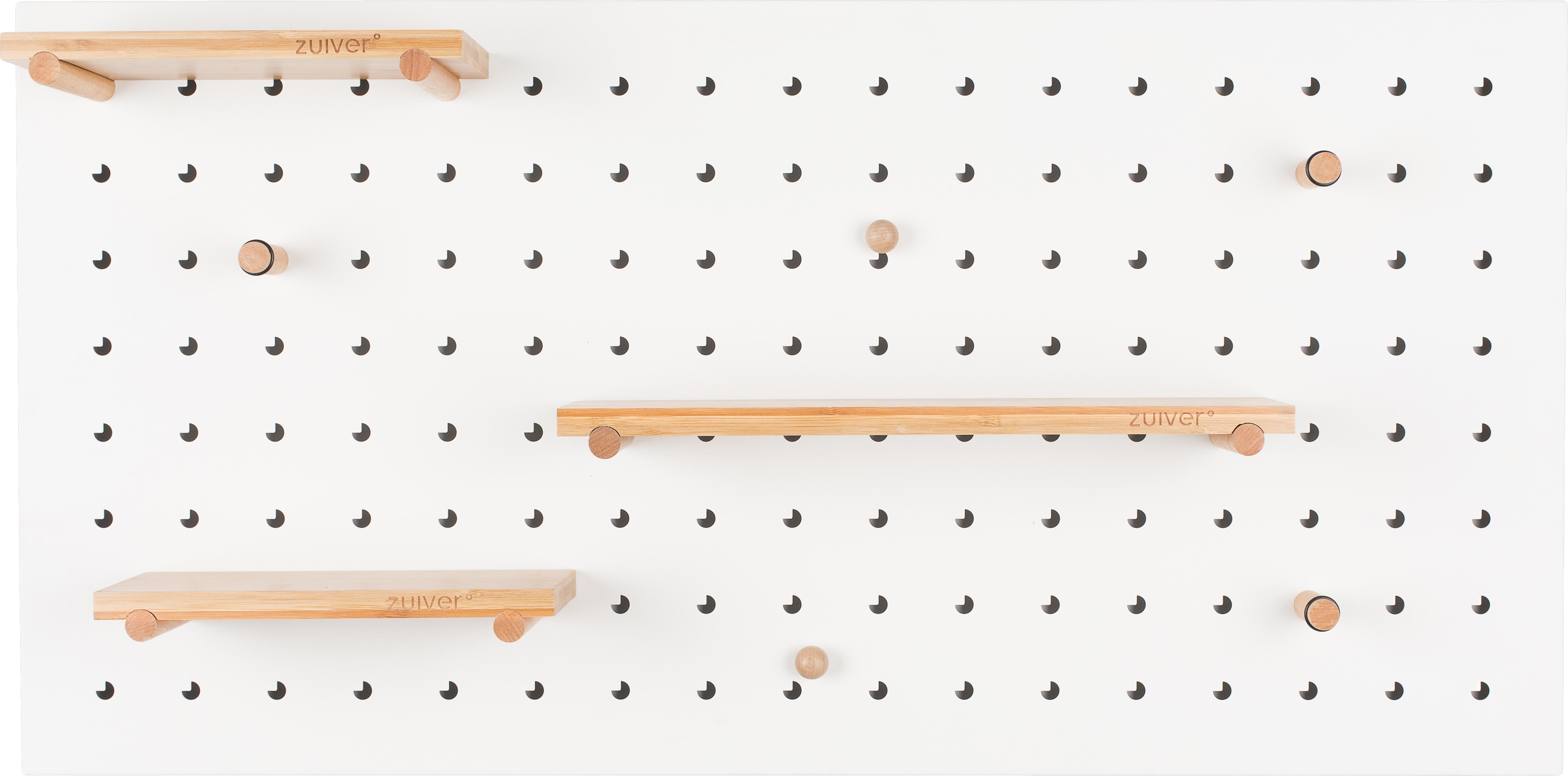 Mensola a muro Bundy, Scaffali: legno di bambù, massiccio, Bianco, Larg. 90 x Alt. 45 cm