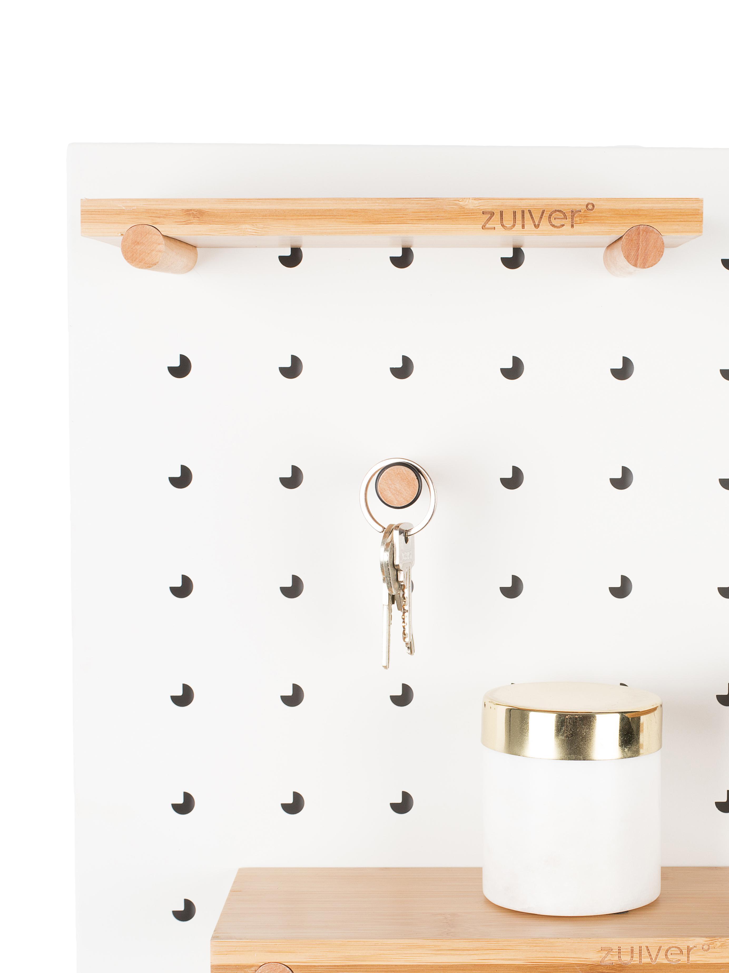 Wandrek Bundy met houten haken en magneten, Wit, 90 x 45 cm