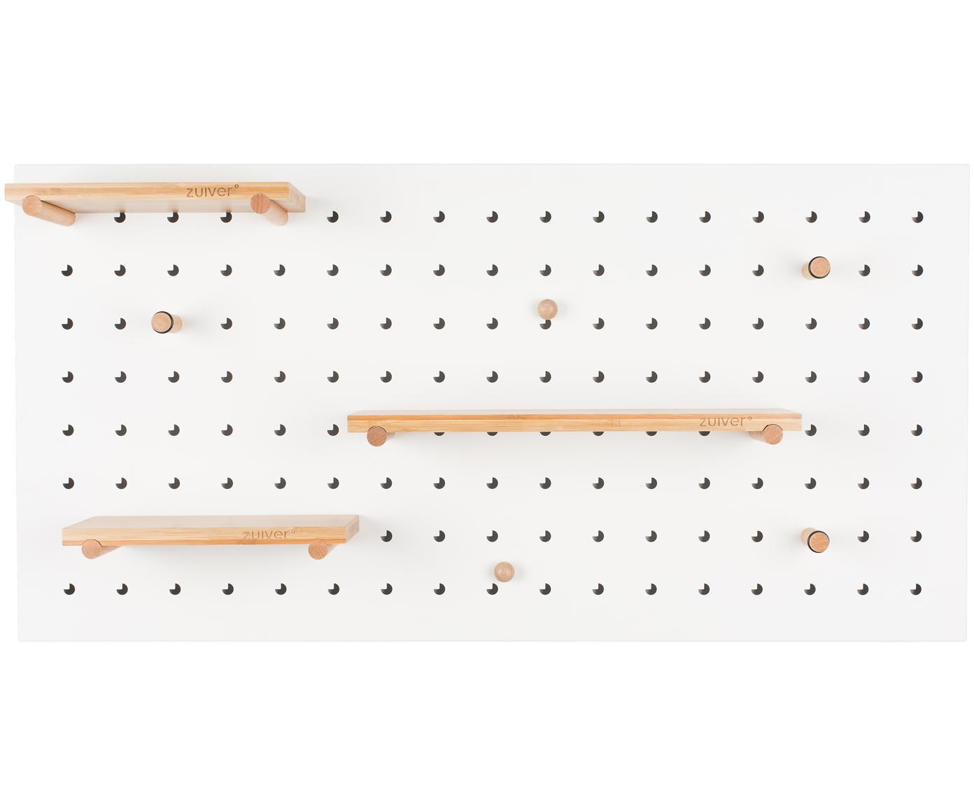 Półka ścienna z  drewnianymi haczykami i magnesami Bundy, Biały, S 90 x W 45 cm