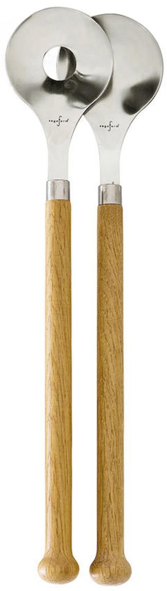 Komplet sztućców do sałatek z uchwytami z drewna dębowego Henny, 2 elem., Stal nierdzewna, drewno dębowe, Drewno dębowe, stal, S 6 cm x D 31 cm