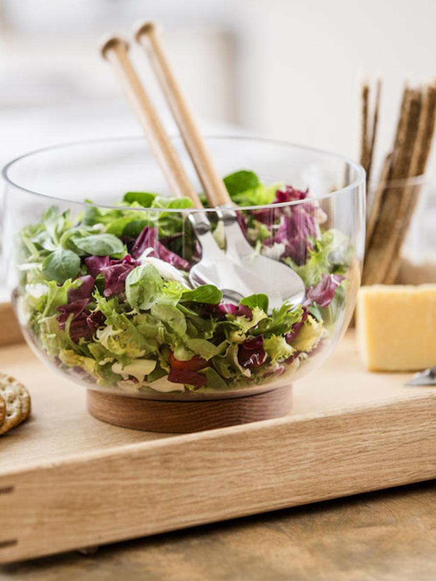 Couverts à salade avec manches en bois de chêne Henny, 2élém., Bois de chêne, acier