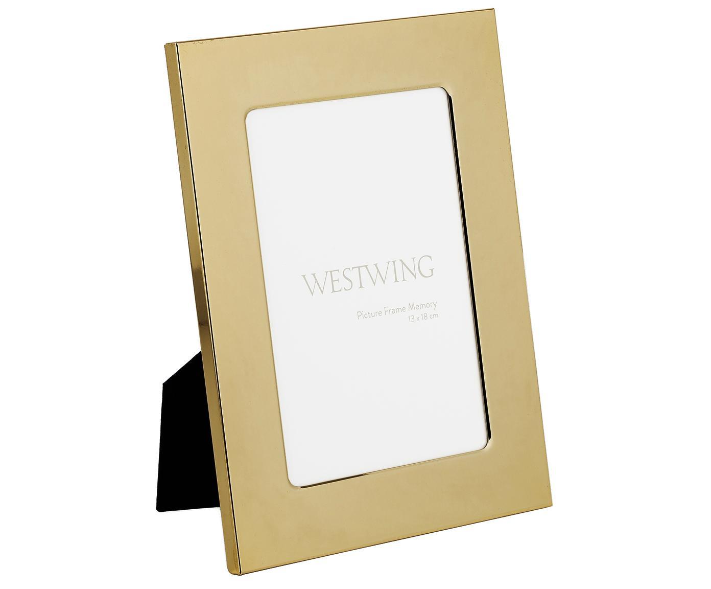 Portafoto da tavolo dorato Memory, Cornice: ferro lucido verniciato, Retro: pannelli di fibra a media, Dorato, 13 x 18 cm