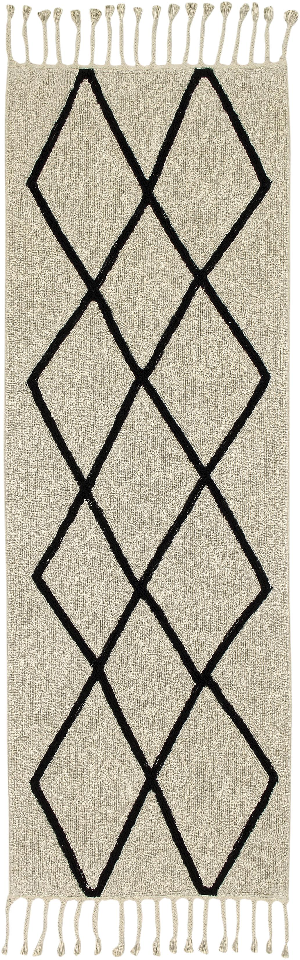 Alfombra con flecos Bereber, Parte superior: 90%algodón, 10%algodón , Reverso: algodón reciclado, Beige, negro, An 80 x L 230 cm