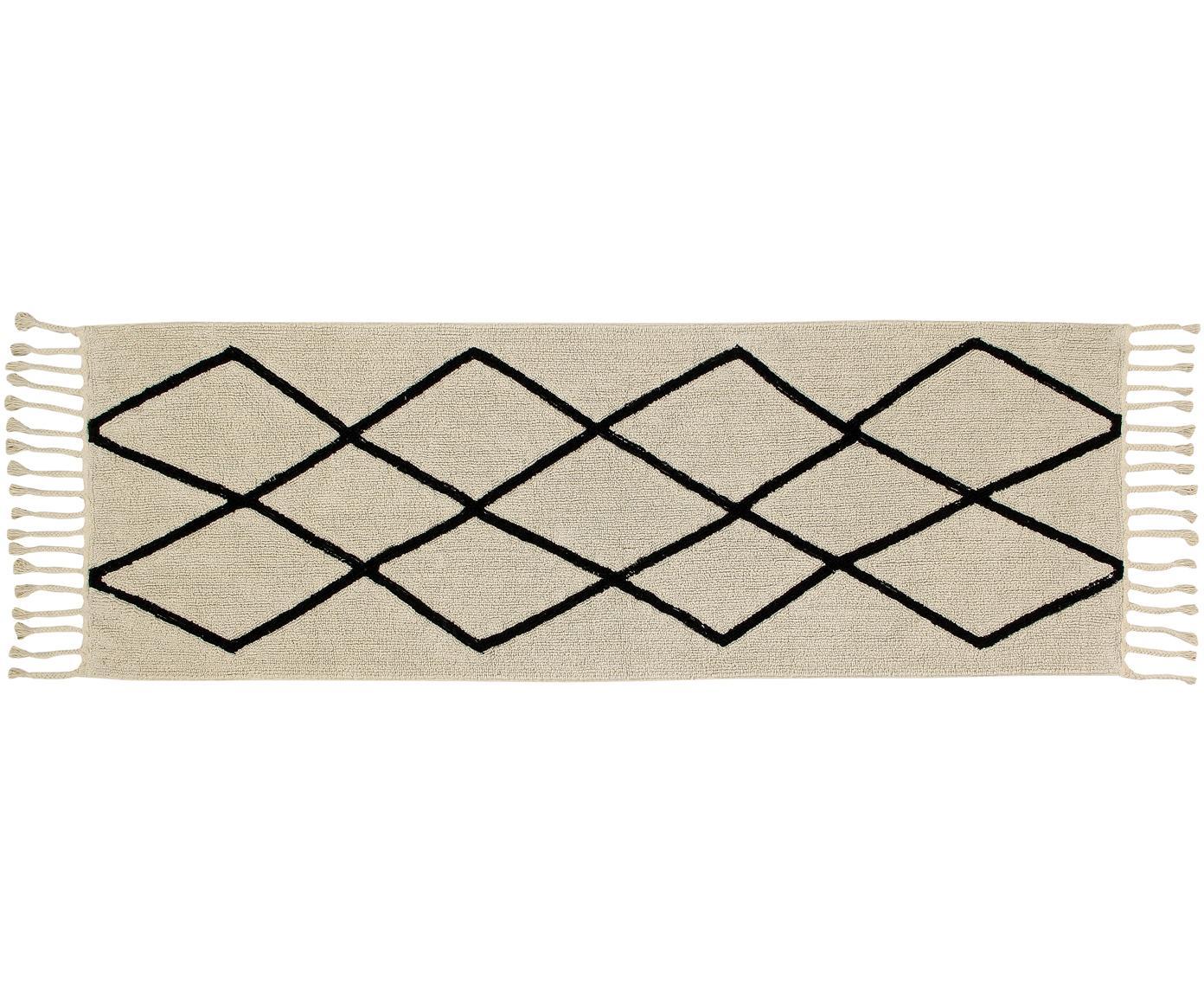 Läufer Bereber mit Rautenmuster und Fransen, Flor: 90% Baumwolle, 10% recyce, Beige, Schwarz, 80 x 230 cm