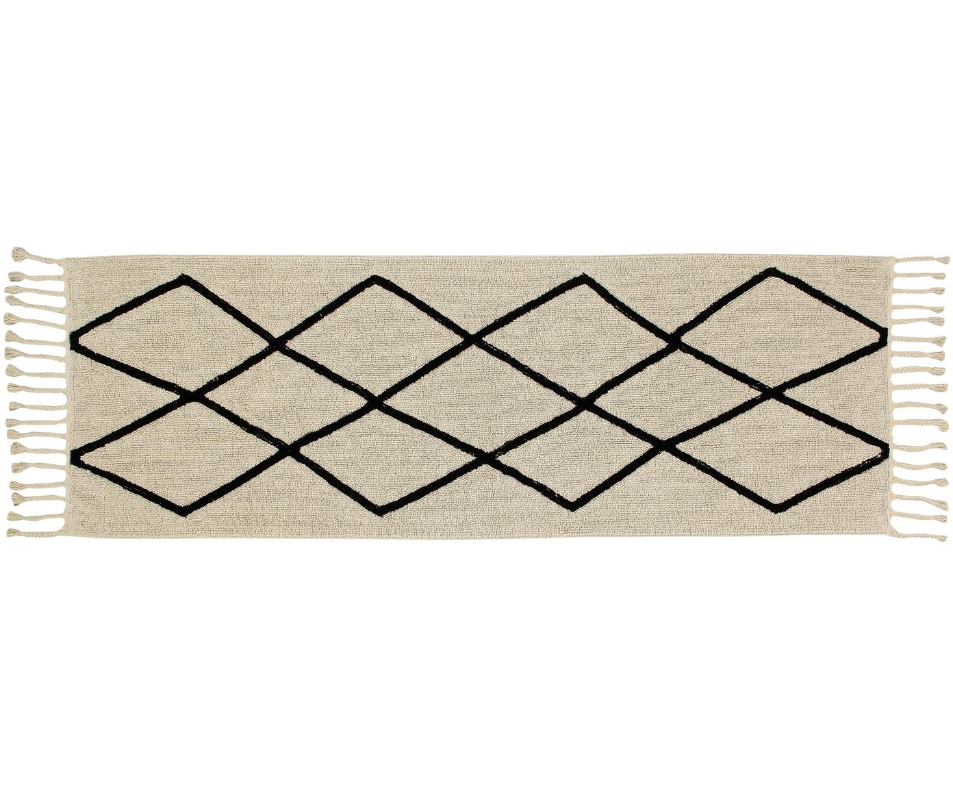 Passatoia in cotone lavabile Bereber, Retro: cotone riciclato, Marrone chiaro, nero, Larg. 80 x Lung. 230 cm
