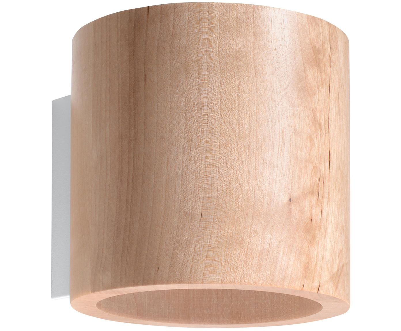 Aplique de madera Roda, Madera, Bayo, Ø 10 x Al 12 cm