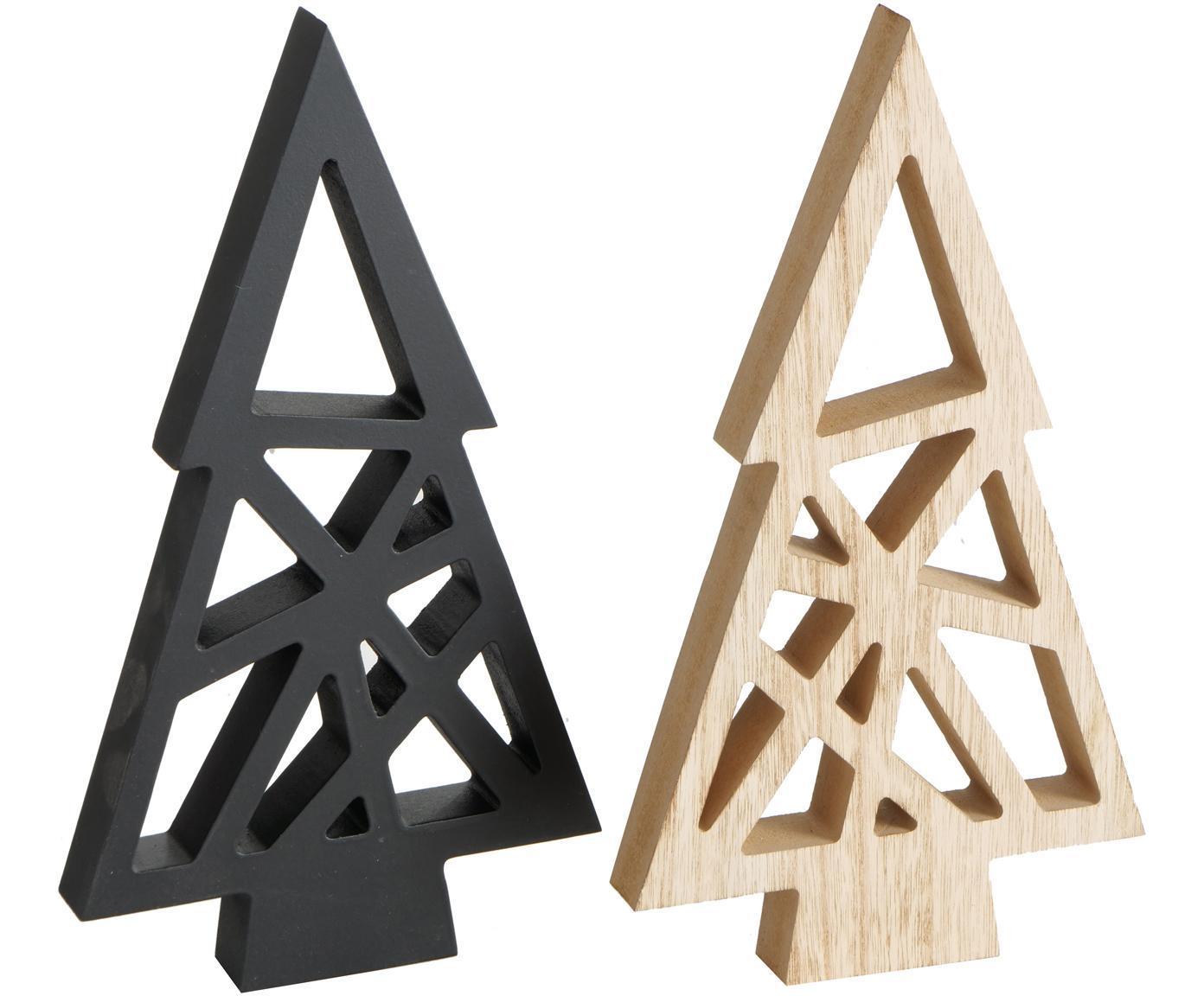 Set 2 oggetti decorativi Grafik, Pannello di fibra a media densità (MDF), Marrone chiaro, nero, Larg. 17 x Alt. 30 cm