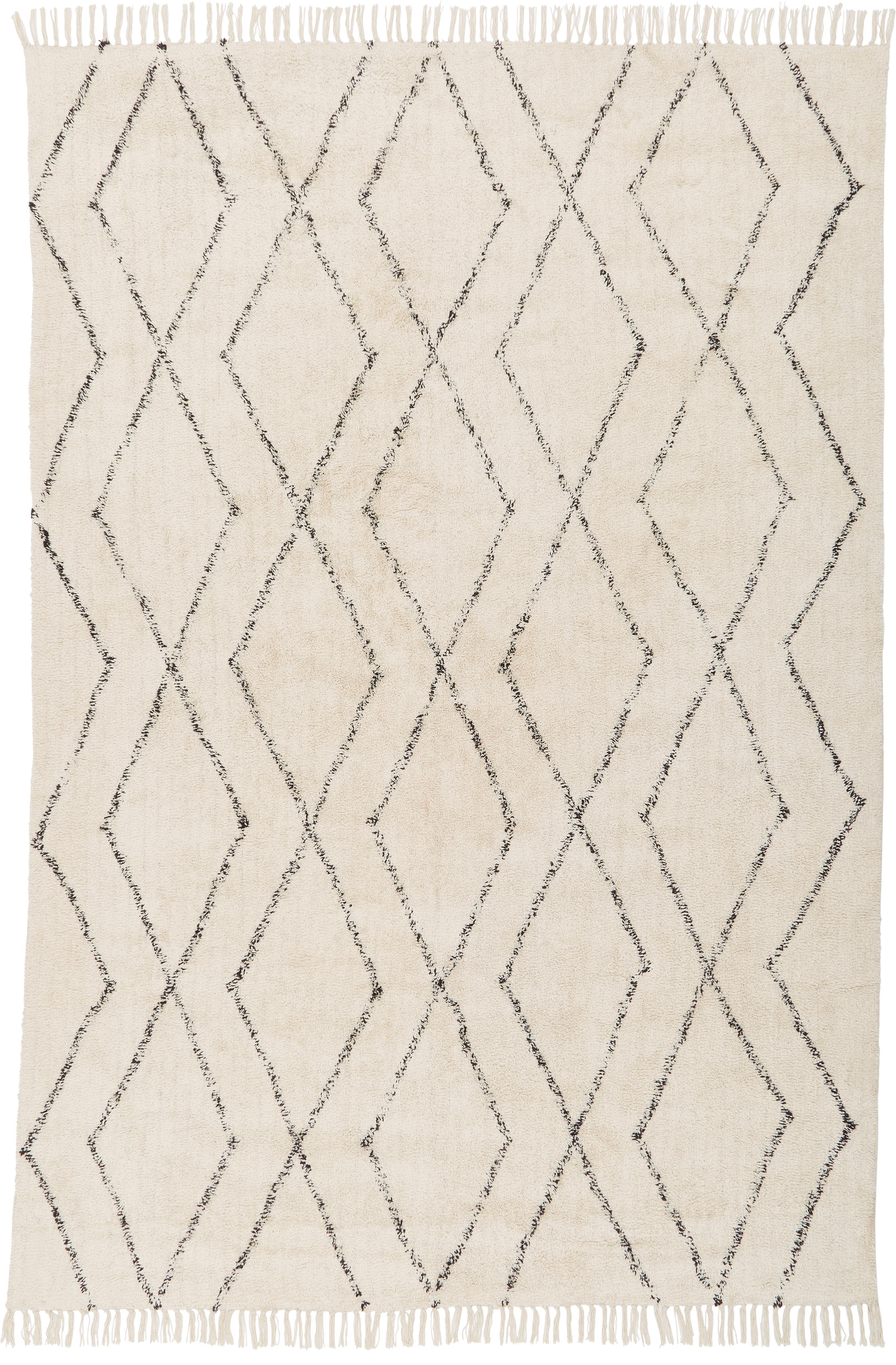 Handgetuft katoenen vloerkleed Bina met ruitjesmotief, Beige, zwart, 200 x 300 cm