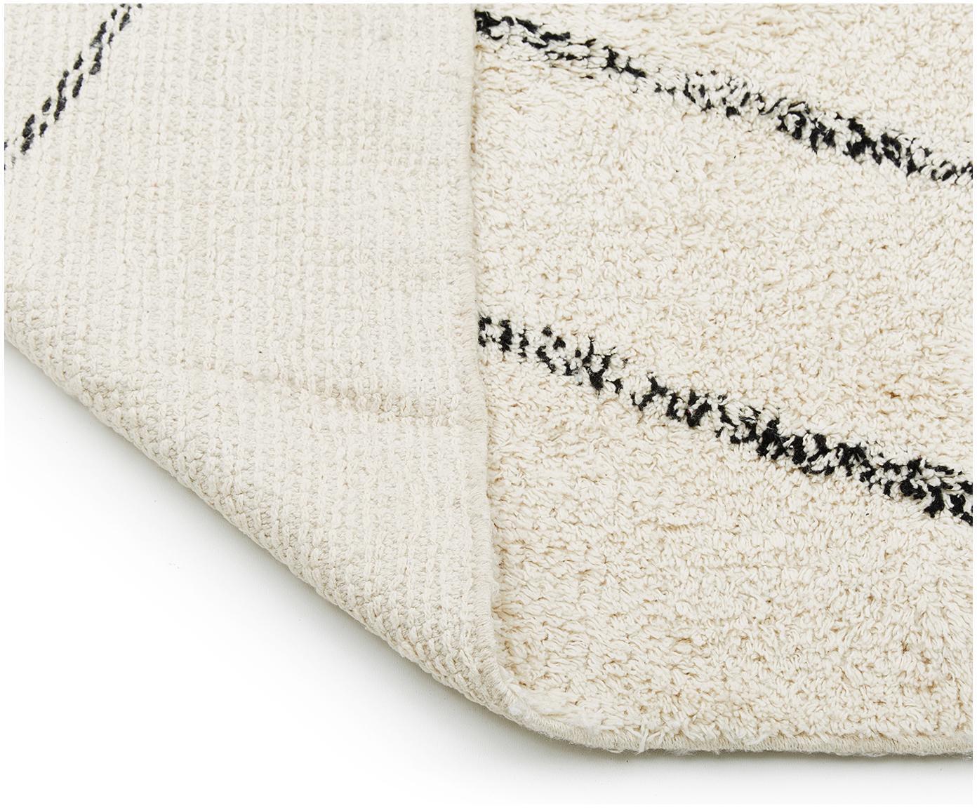 Handgetufteter Baumwollteppich Bina, Beige, Schwarz, B 200 x L 300 cm (Grösse L)