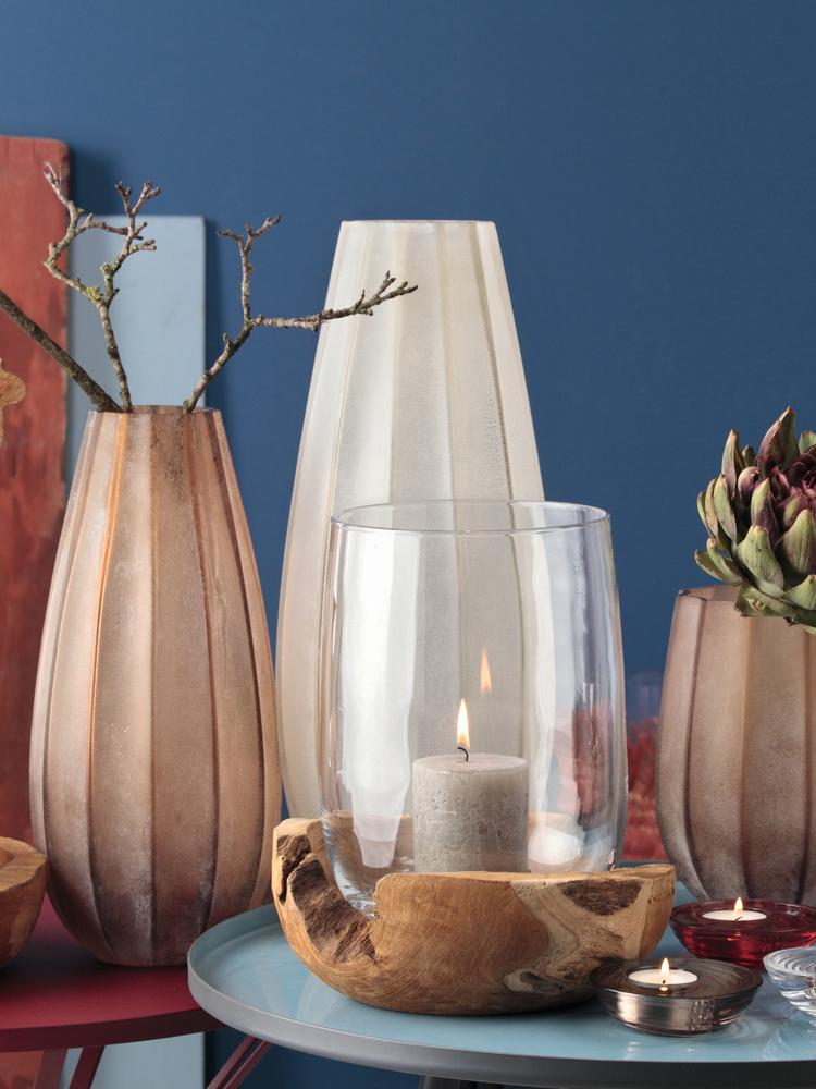 Große Glasvase Ferrara, Glas, Beige, Ø 18 x H 44 cm