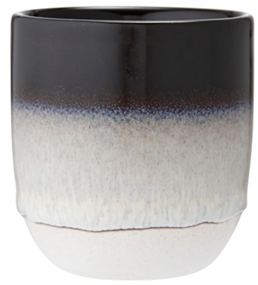 Becher Café mit Farbverlauf, 4 Stück, Steingut, Schwarz, Ø 8 x H 9 cm