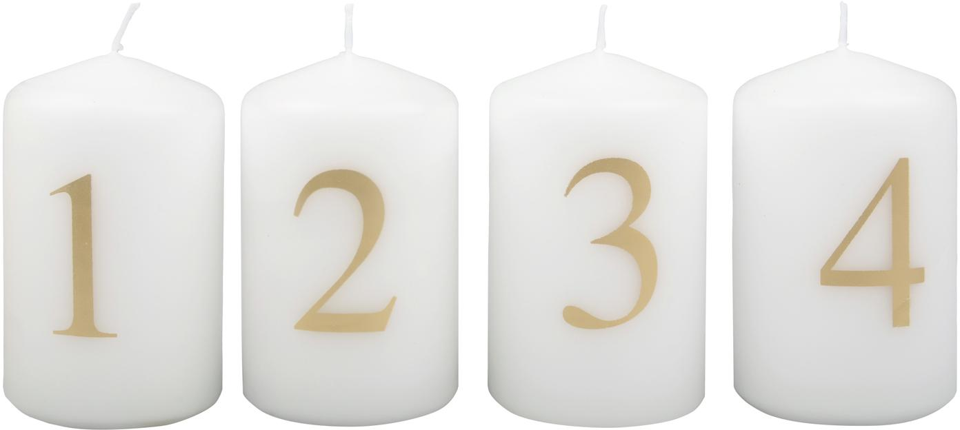 Candela dell'avvento Set Aven 4 pz, Paraffina, Bianco, dorato, Ø 6 x Alt. 9 cm