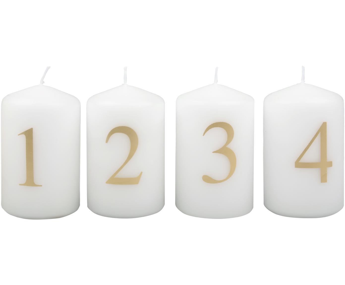 Adventkaarsen set Aven, 4-delig, Paraffinewas, Wit, goudkleurig, Ø 6 cm