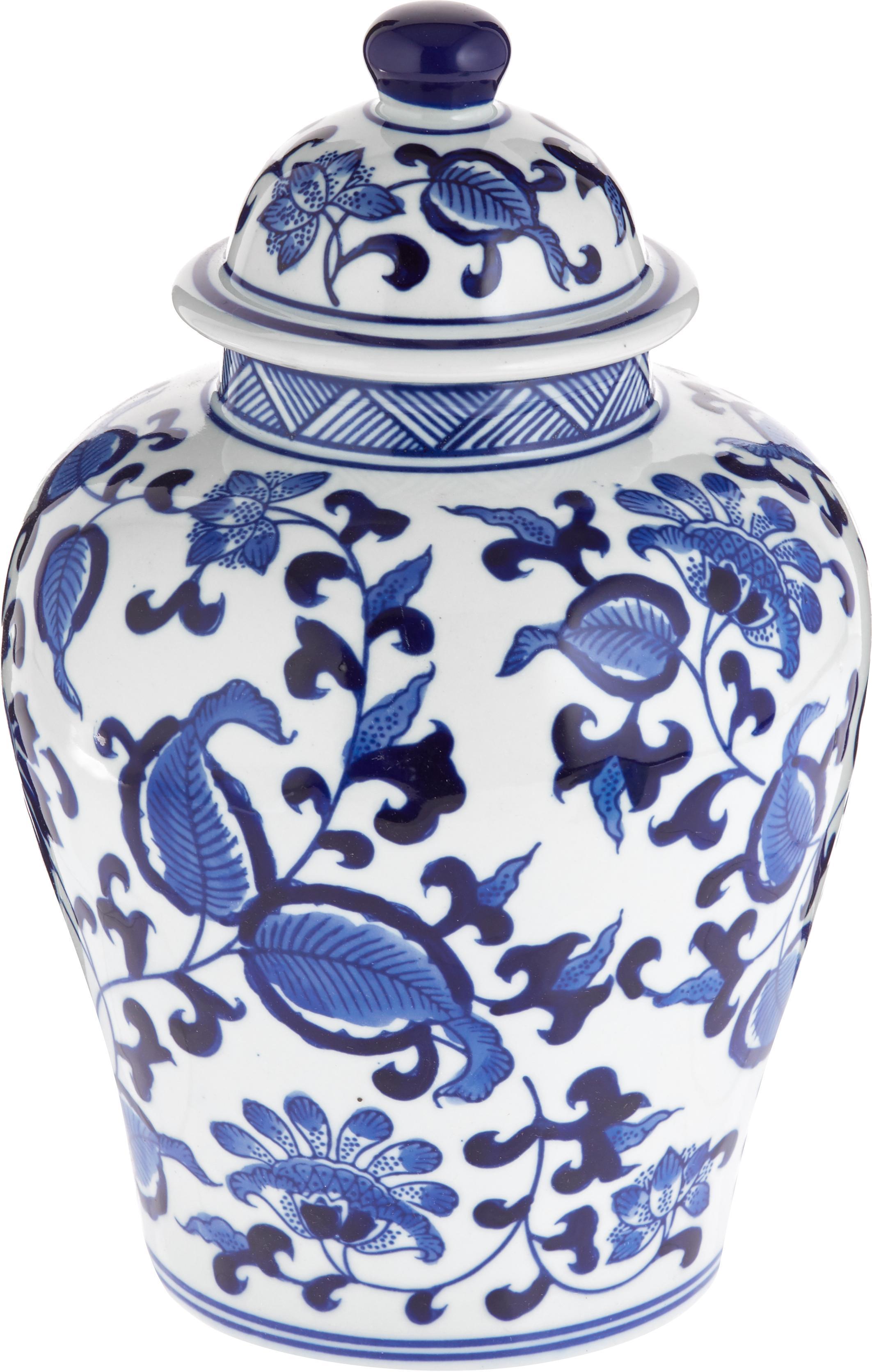 Tibor de porcelana Annabelle, Porcelana, Azul, blanco, Ø 16 cm