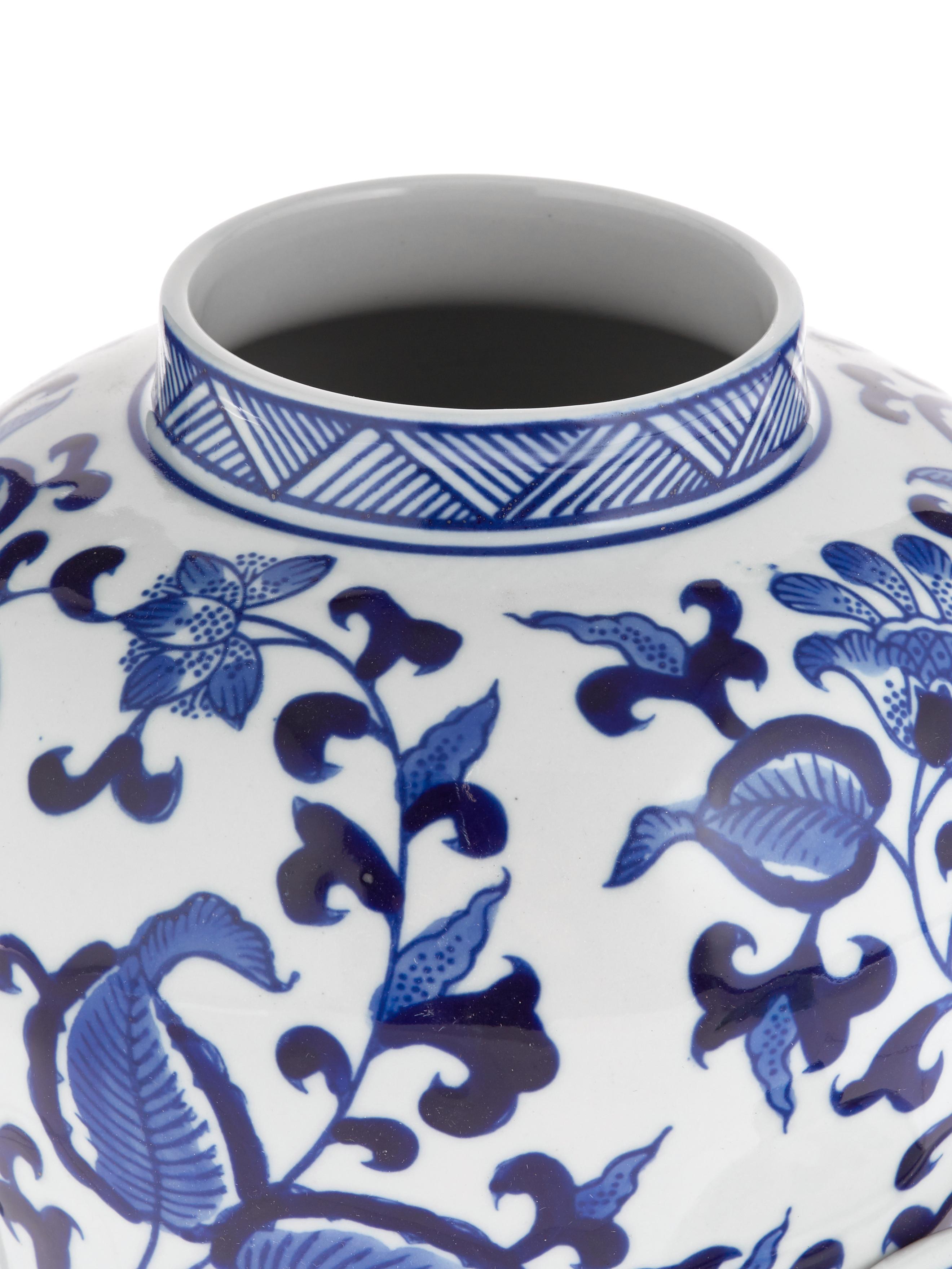 Vaas met deksel Annabelle uit porselein, Porselein, Blauw, wit, Ø 16 cm