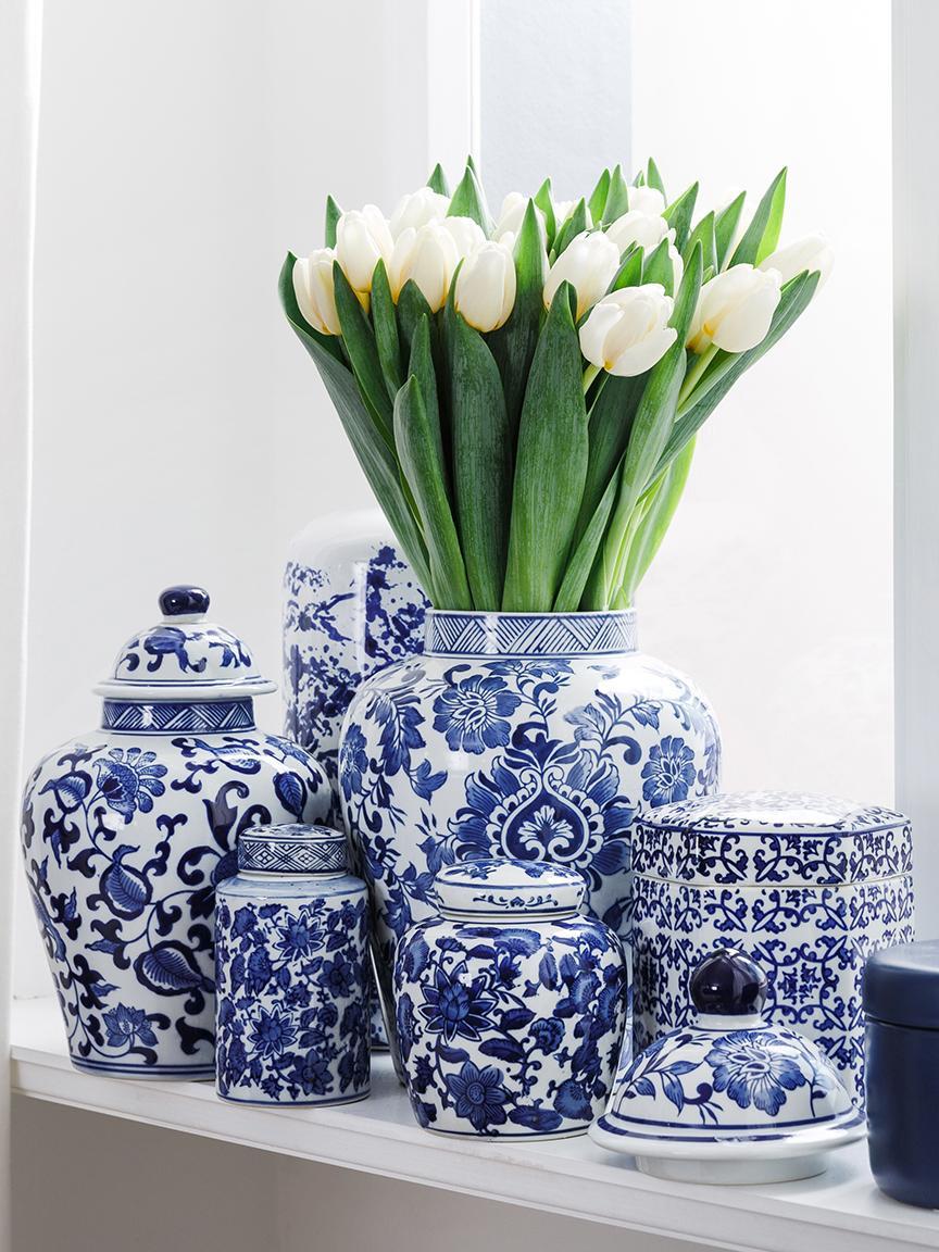 Deckelvase Annabelle aus Porzellan, Porzellan, Blau,Weiß, Ø 16 x 26 cm