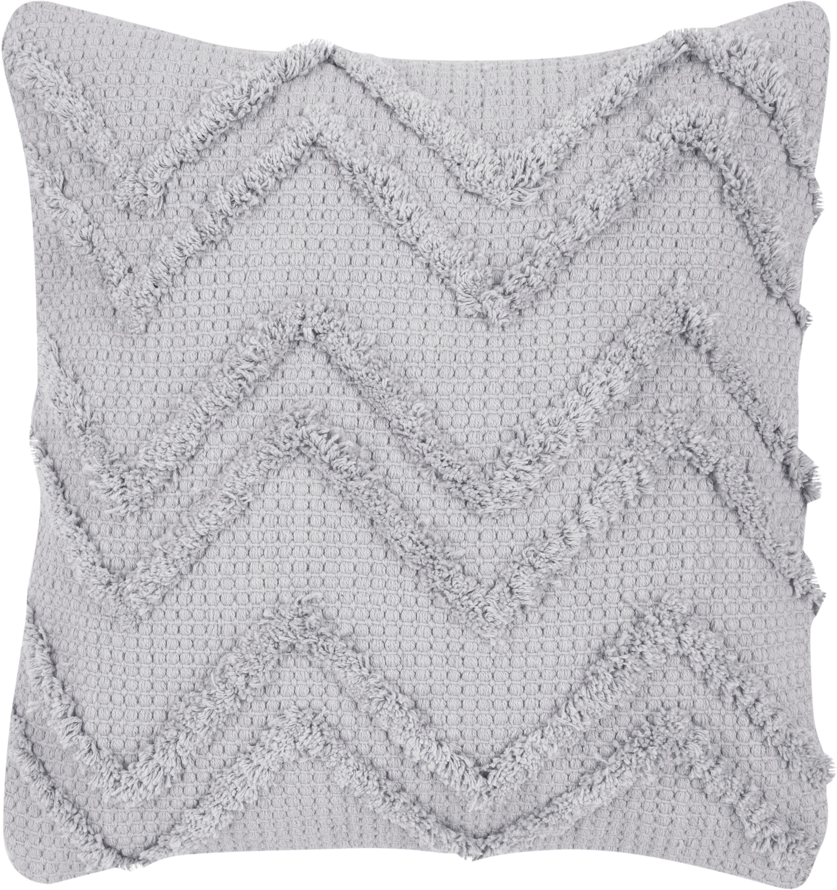 Kissenhülle Akesha mit Zickzack-Muster, 100% Baumwolle, Grau, 45 x 45 cm