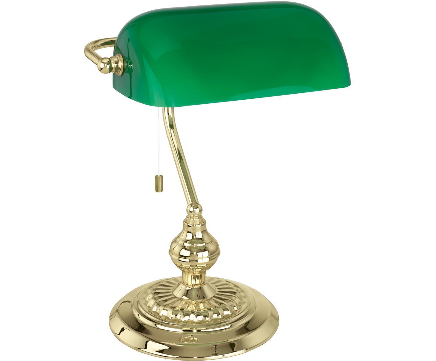 Schreibtischlampe Banker, Glas, Messing, Grün, Goldfarben, 25 x 39 cm