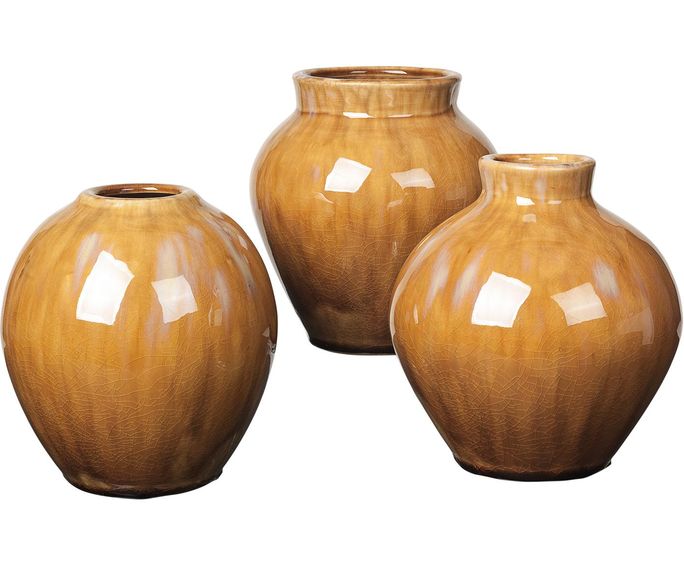 Set de jarrones de cerámica Ingrid, 3pzas., Cerámica, Marrón, Ø 14 x Al 14 cm