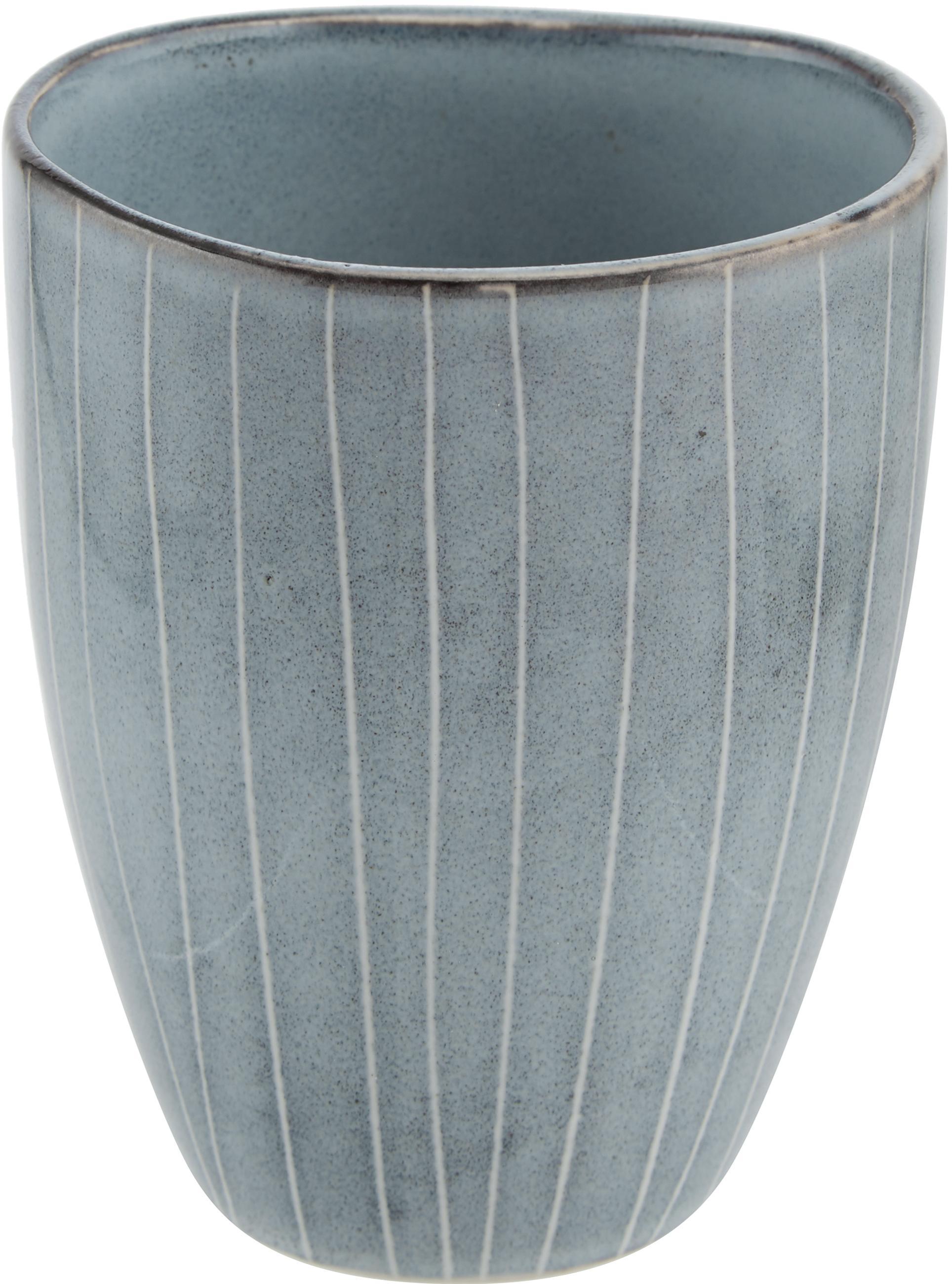 Handgemachte Becher Nordic Sea aus Steingut, 6 Stück, Steingut, Grau- und Blautöne, Ø 8 x H 10 cm