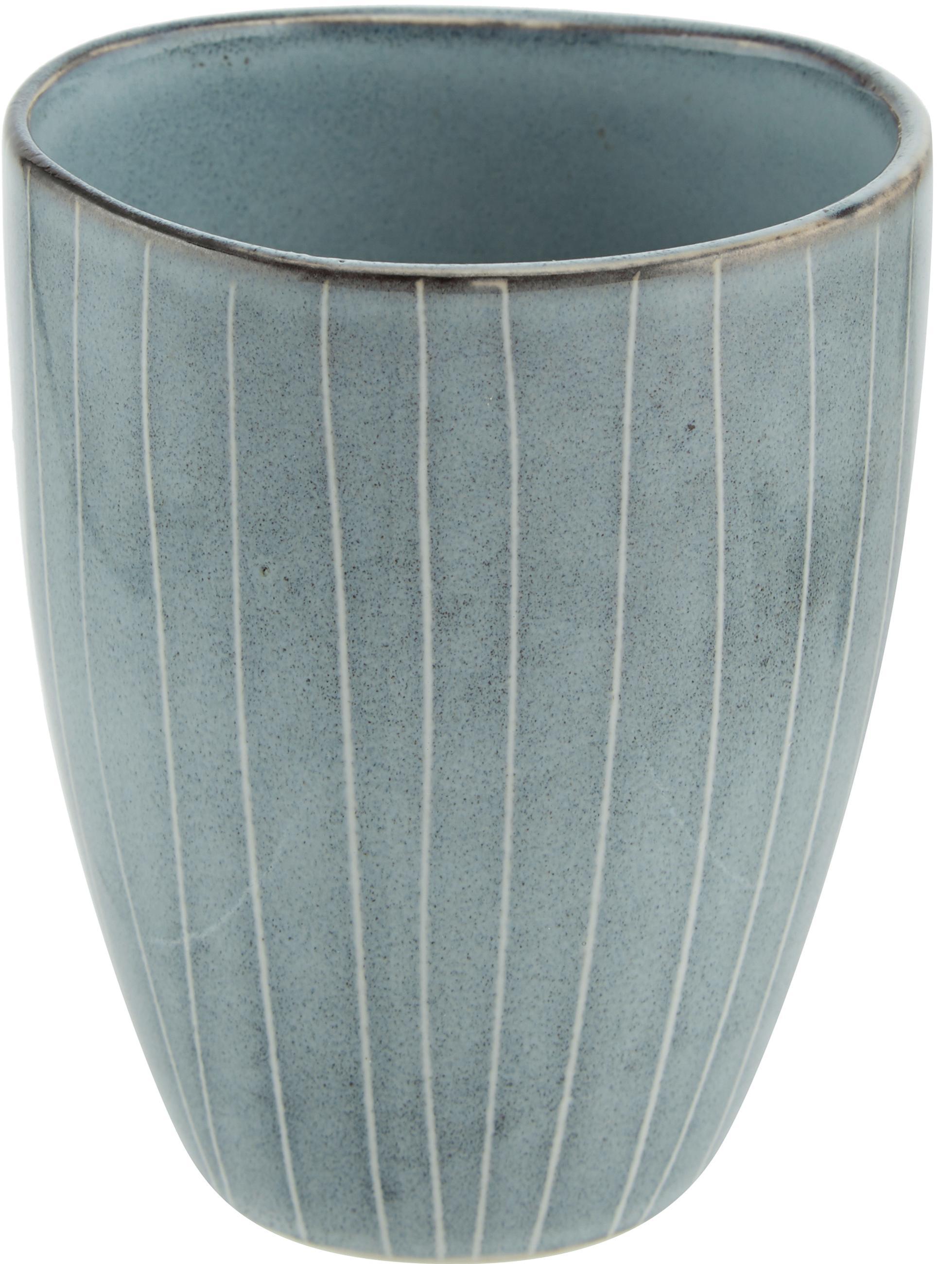 Ręcznie wykonany kubek z kamionki Nordic Sea, 6 szt., Kamionka, Szary i odcienie niebieskiego, Ø 8 x W 10 cm