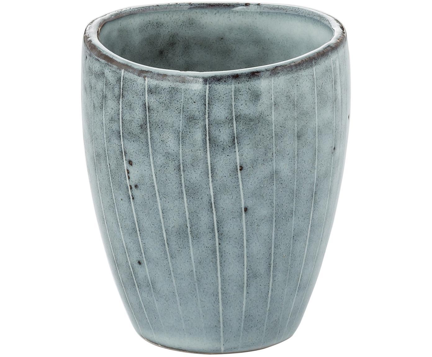 Tazas artesanales Nordic Sea, 6uds., Gres, Tonos de gris y azul, Ø 8 x Al 10 cm