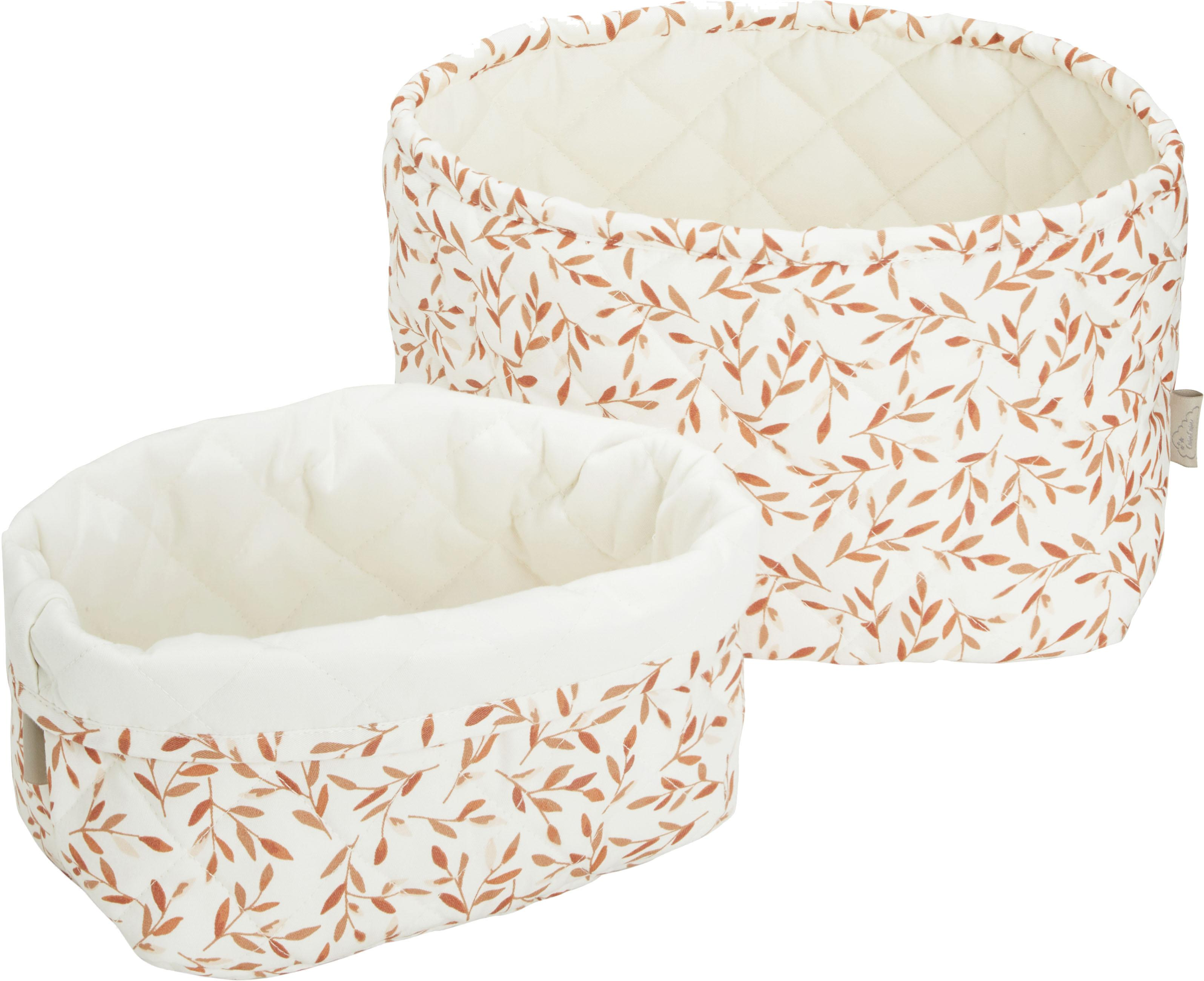 Set de cestas de algodón ecológico Leaves, 2pzas., Funda: 100%algodón ecológico, c, Crema, naranja, Set de diferentes tamaños