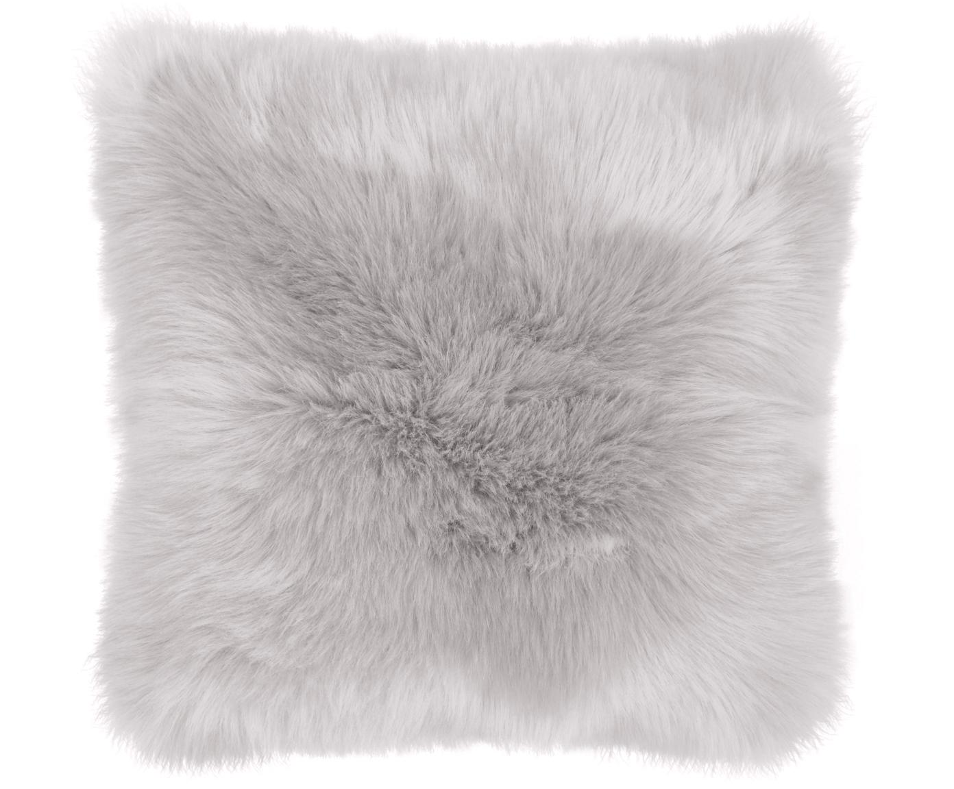 Flauschige Kunstfell-Kissenhülle Mathilde, glatt, Vorderseite: 67% Akryl, 33% Polyester, Rückseite: 100% Polyester, Hellgrau, 40 x 40 cm