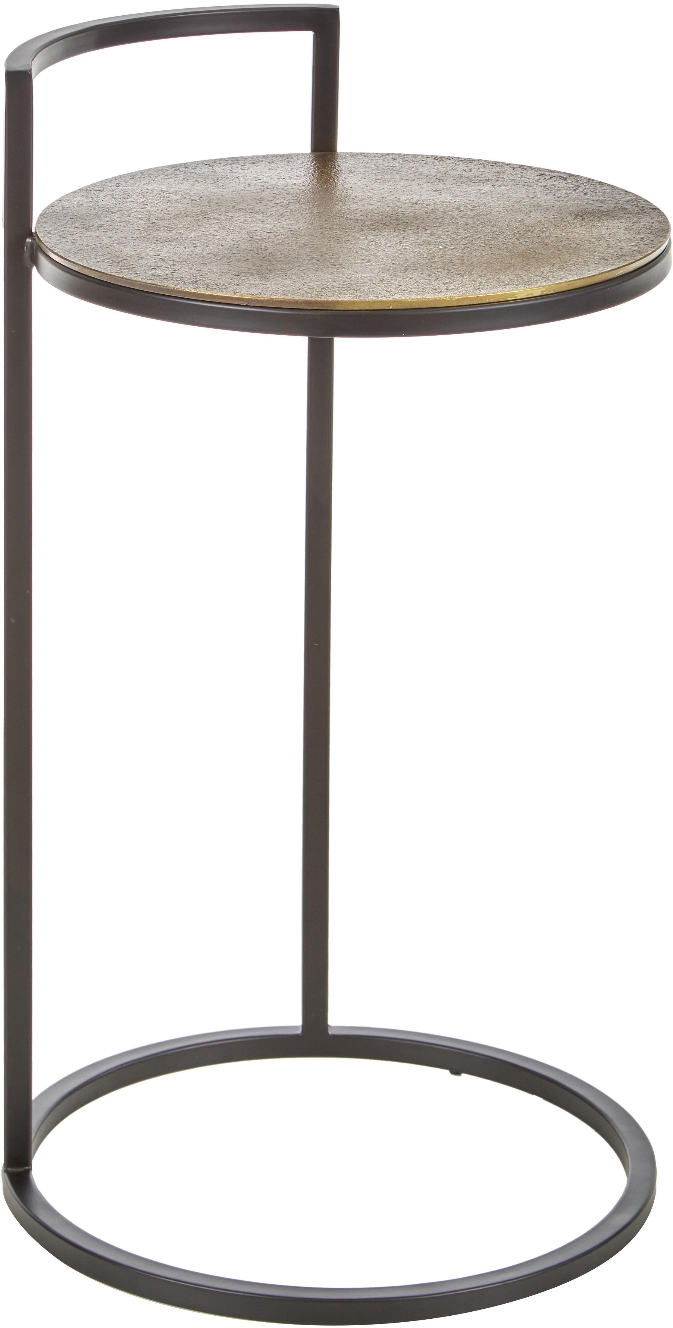 Mesa auxiliar redonda de metal Circle, Tablero: aluminio, recubierto, Estructura: metal pintado, Dorado, negro, Ø 36 x Alto 66 cm