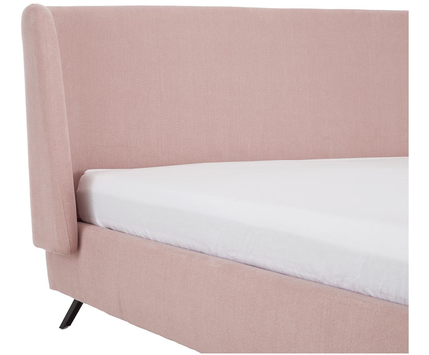 Gestoffeerd bed Madonna, Frame: massief grenenhout, Poten: gepoedercoat metaal, Bekleding: polyester (gestructureerd, Bekleding: oudroze. Poten: mat zwart, 160 x 200 cm