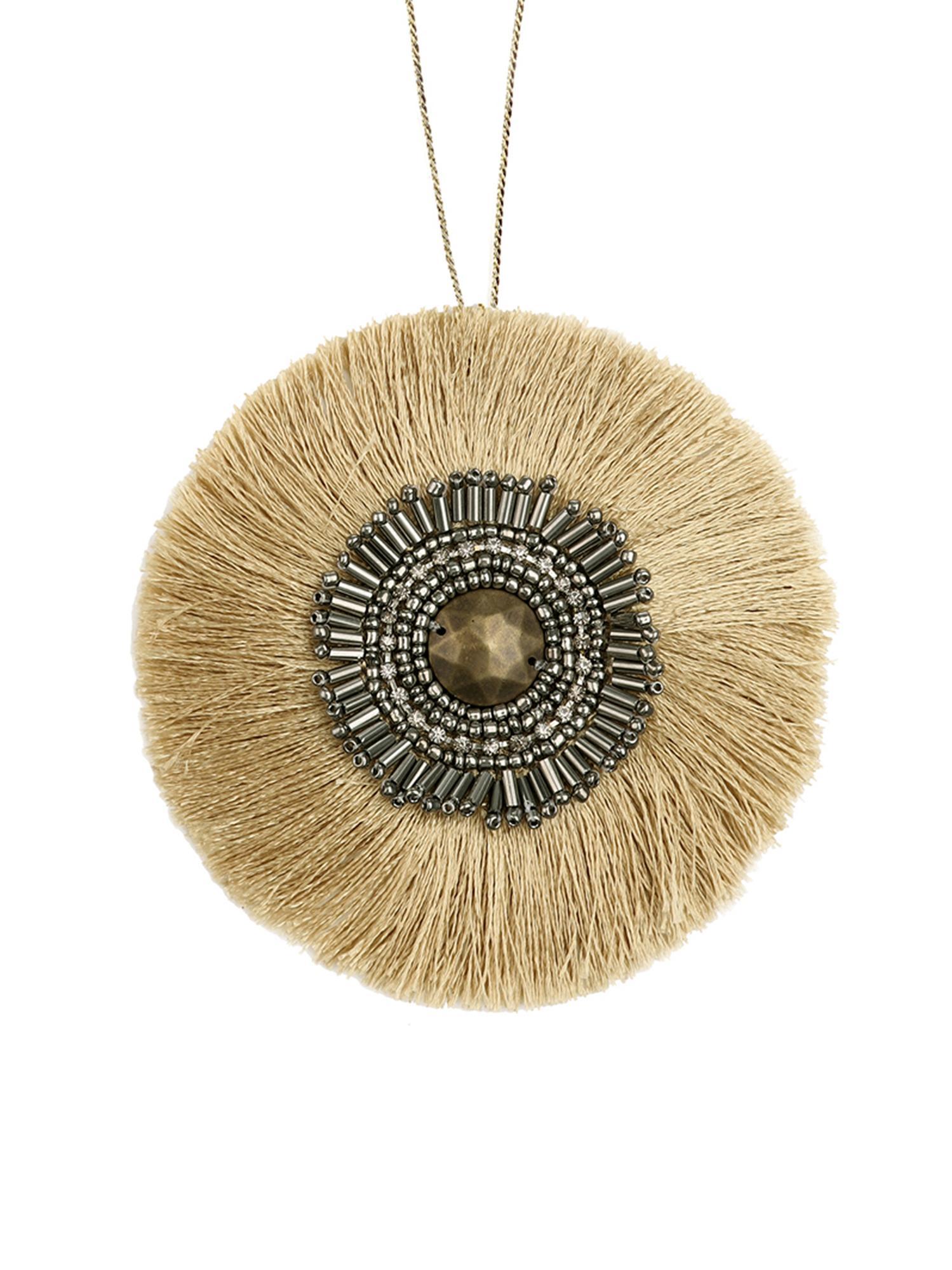 Handgefertigter Geschenkanhänger Gisol, 60% Polyester, 40% Glasperlen, Beige, Goldfarben, Schwarz, glänzend, Ø 10 cm