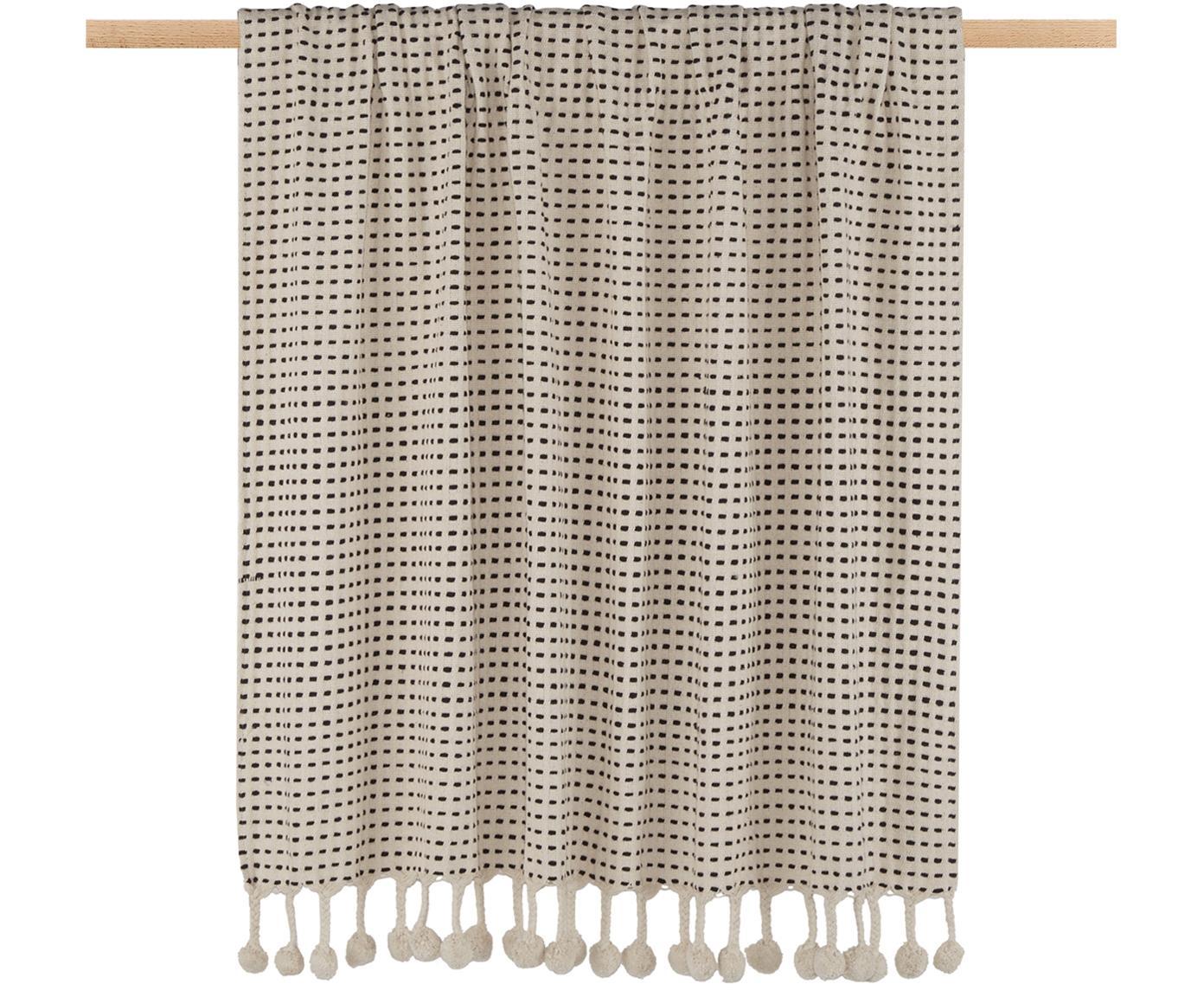 Plaid Pom Pom in Ecru/Schwarz, 100% Baumwolle, Ecru, Schwarz, 130 x 170 cm