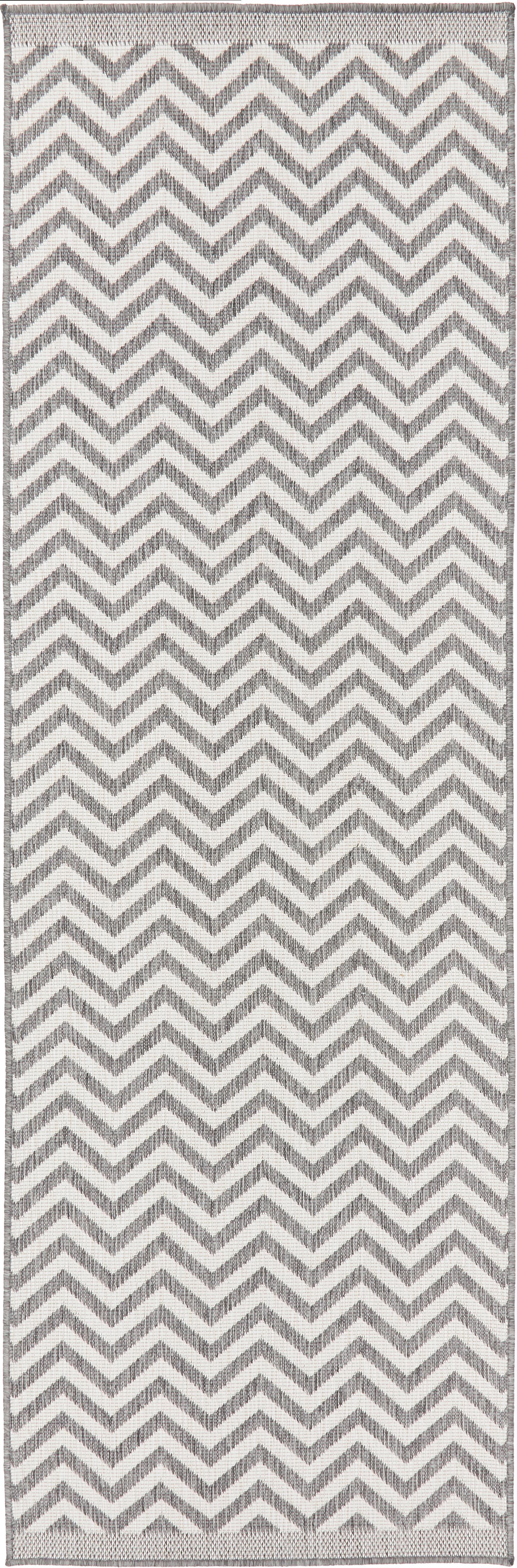 Dubbelzijdige in- & outdoor loper Palma, met zigzag patroon, Grijs, crèmekleurig, 80 x 250 cm