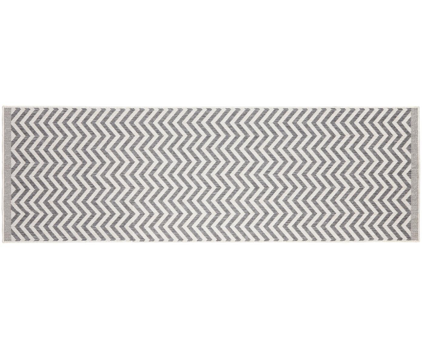 In- & Outdoor-Läufer Palma mit Zickzack-Muster, beidseitig verwendbar, Grau, Creme, 80 x 250 cm