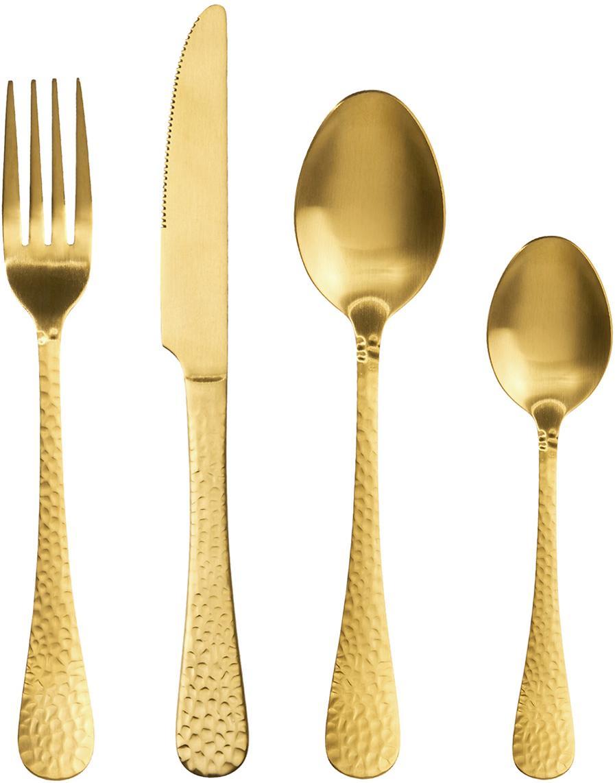 Goudkleurige bestekset Baronet met gehamerde handvatten, 4-delig, Gecoat edelstaal, Messingkleurig, Verschillende formaten
