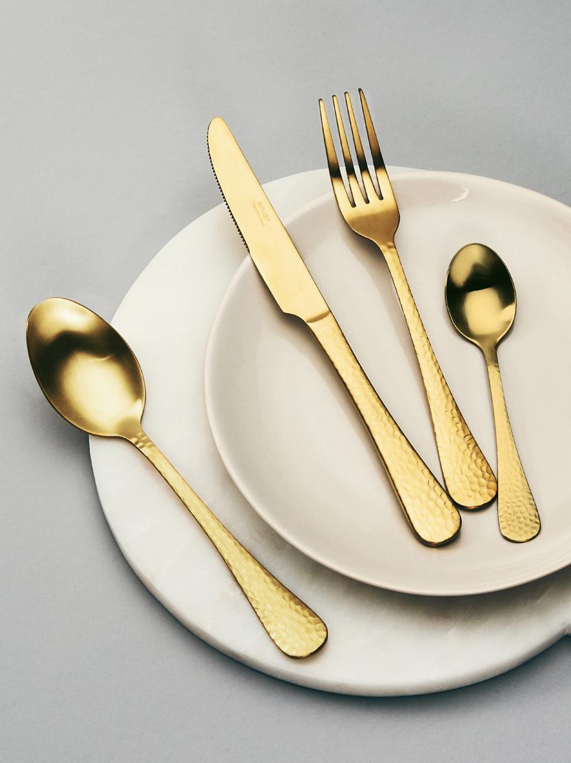 Set 4 posate dorate con manici martellati Baronet, Acciaio inossidabile rivestito, Ottonato, Set in varie misure