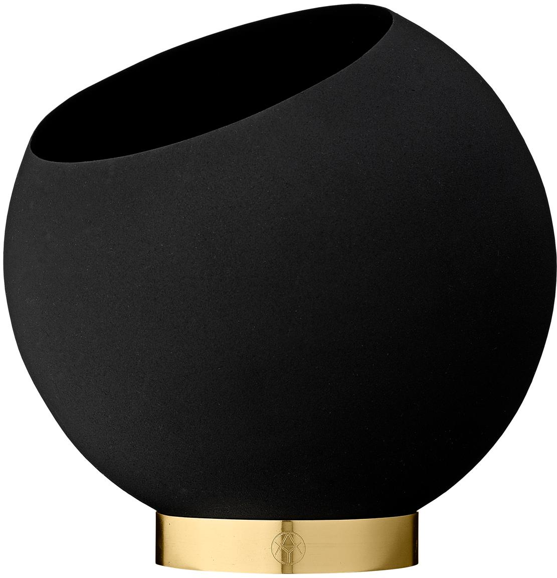 Großer Übertopf Globe aus Metall, Übertopf: Metall, pulverbeschichtet, Fuß: Edelstahl, beschichtet un, Schwarz, Ø 21 x H 19 cm
