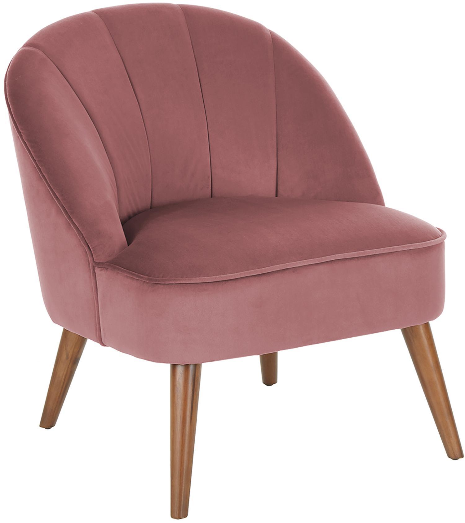 Fluwelen fauteuil Aya, Bekleding: fluweel (polyester), Poten: berkenhout, gelakt, Bekleding: roze. Poten: berkenhoutkleurig, B 73 x D 64 cm
