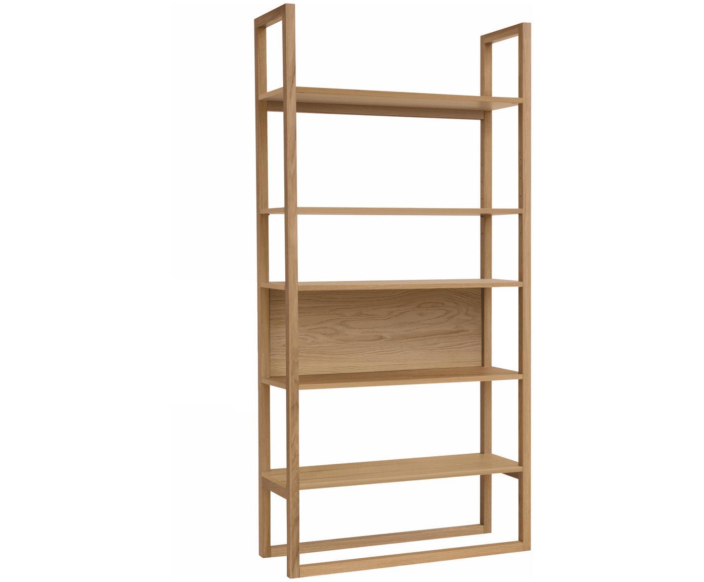 Libreria in legno di quercia NewEst, Ripiani: truciolato rovere impiall, Legno di quercia, Larg. 90 x Alt. 185 cm