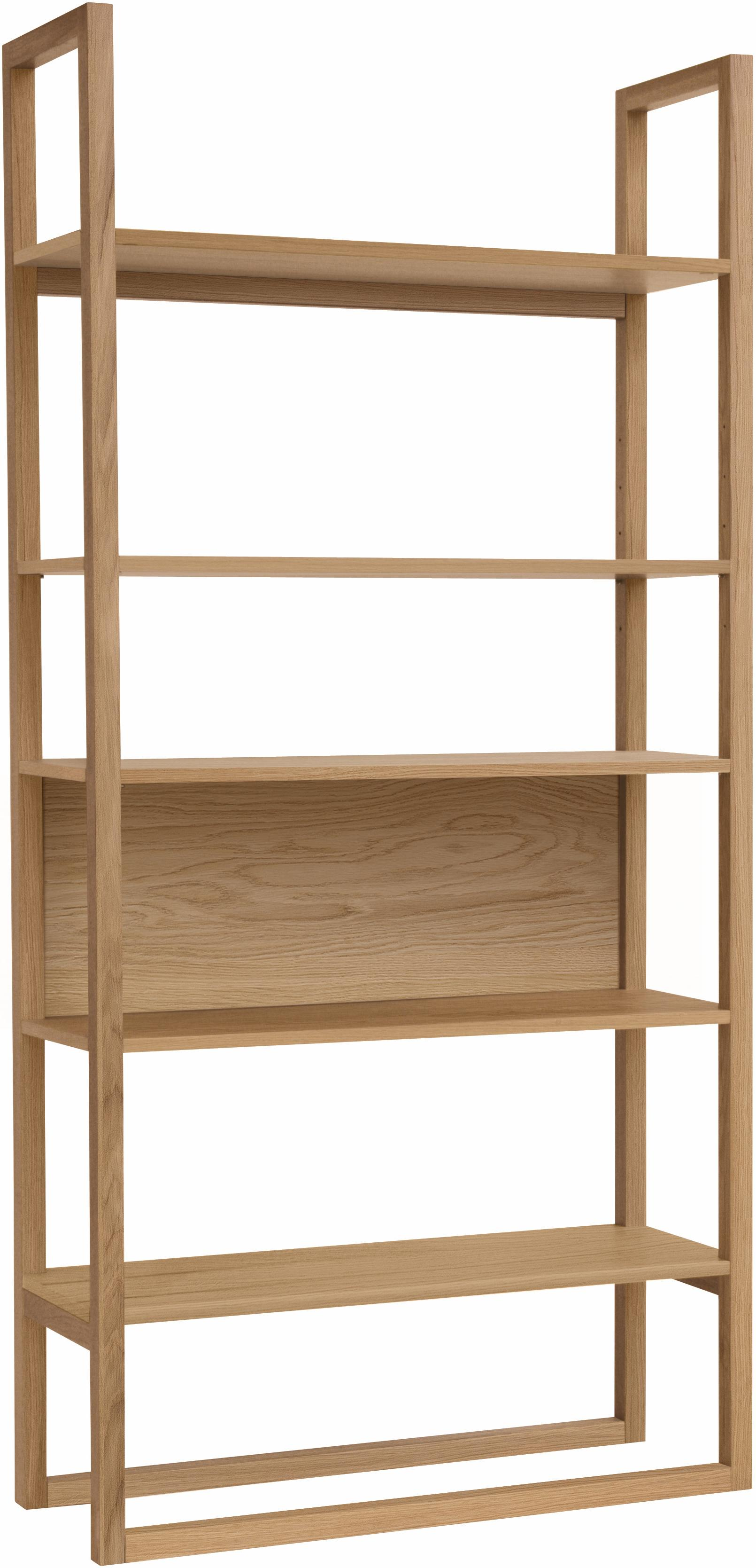 Regał z drewna dębowego NewEst, Korpus: drewno dębowe, jasny laki, Drewno dębowe, 90 x 185 cm