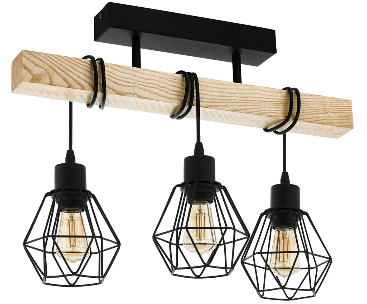 Lampa sufitowa Townshend, Czarny, drewno naturalne, S 55 x W 36 cm