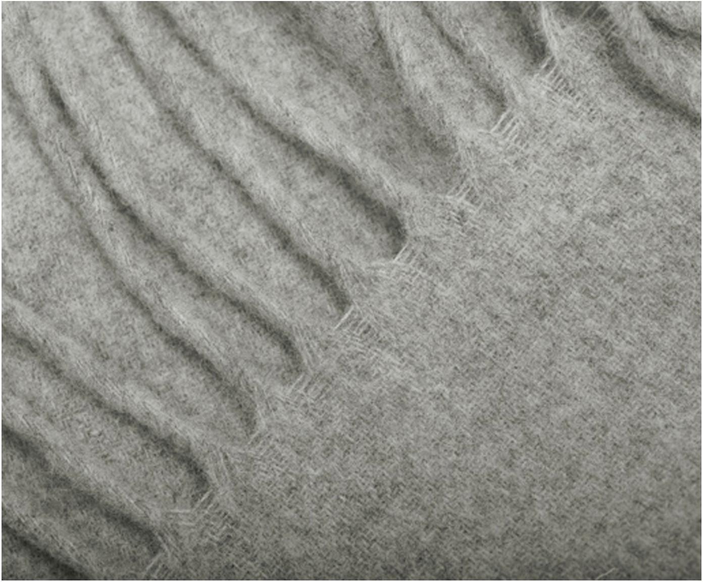 Pled z kaszmiru Liliana, 80%wełna, 20%kaszmir, Szary, S 130 x D 170 cm