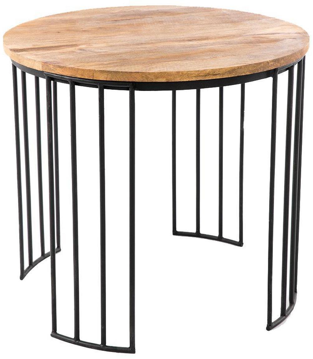 Mesa auxiliar Juliette, Tablero: madera de mango, Patas: hierro, Natural, negro, Ø 58 x Al 50 cm