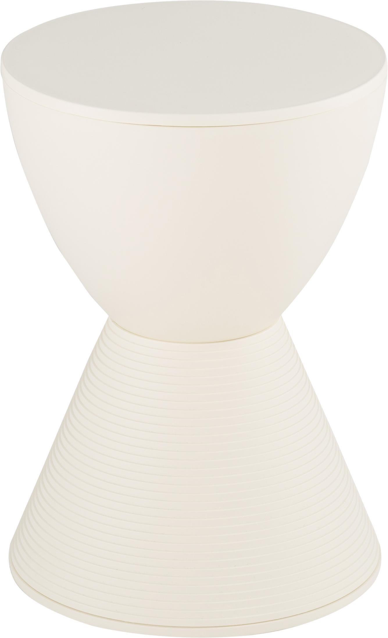 Design Hocker/ Beistelltisch Prince AHA, Durchpigmentiertes Polypropylen, Wachsweiß, Ø 30 x H 43 cm