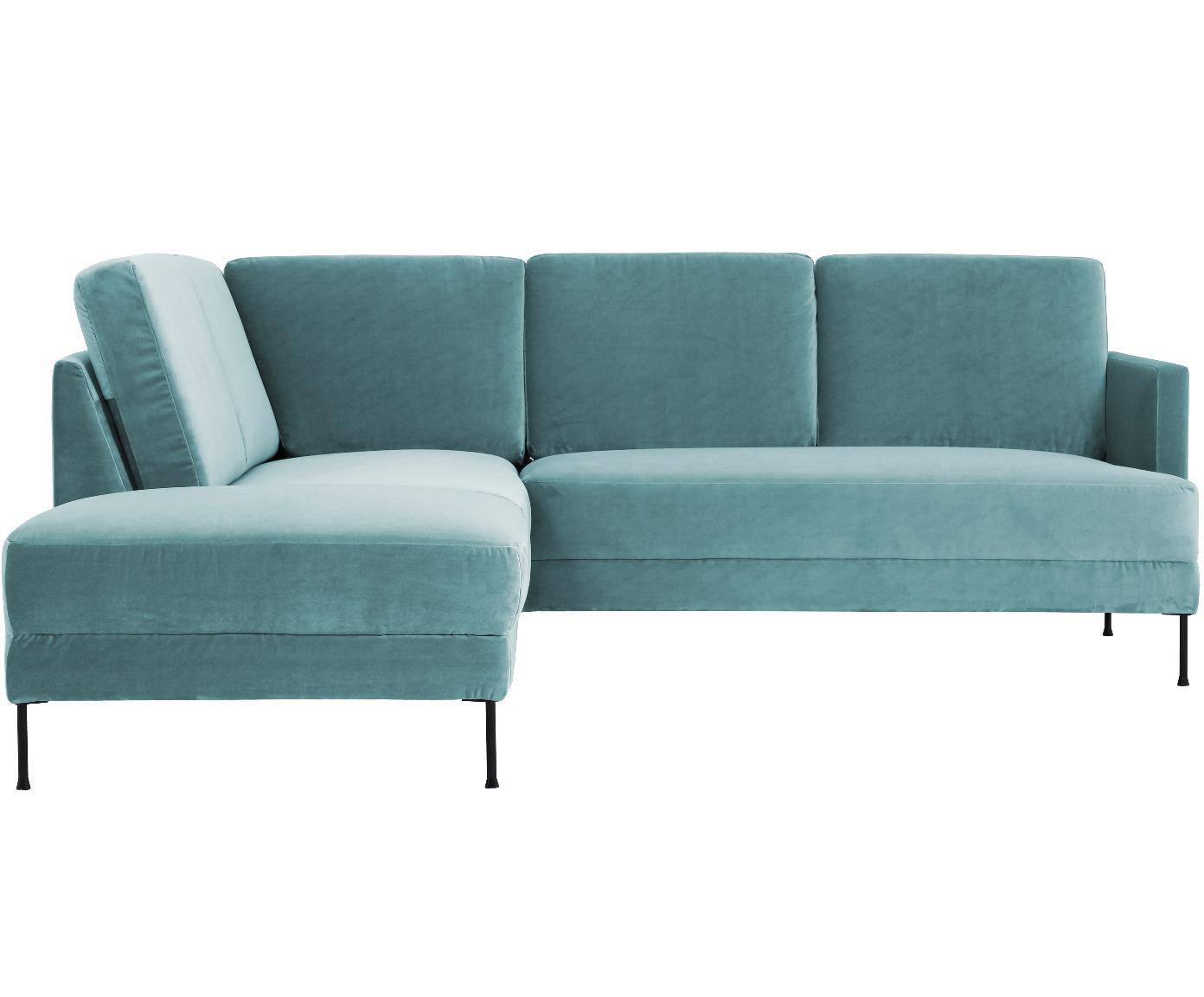 Sofa narożna z aksamitu Fluente, Tapicerka: aksamit (wysokiej jakości, Stelaż: lite drewno sosnowe, Nogi: metal lakierowany, Aksamitny turkusowy, S 221 x G 200 cm